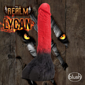 beast werewolf dildo red on the shaft with hairy balls