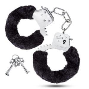 black fuzzy hand cuffs